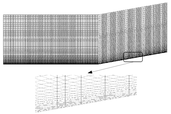 Compression corner. Detail of the structured mesh.