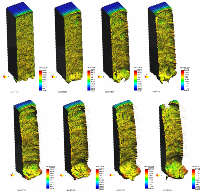 Simulation of a 3D polymer melt problem with the PFEM. Melt flow from a   heated prismatic sample at different times.