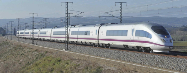 High-speed train travelling over a ballasted railway track.