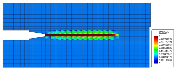 Evolution of damage for \mathcalGf1 at the end of simulation. (Gid pre-post processor[6]).