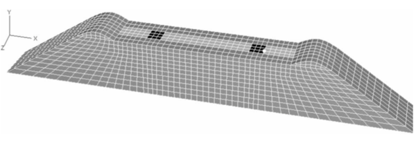 Perspective view of FE model of a sleeper embedded inside a ballast bed. Source: Kabo [41].