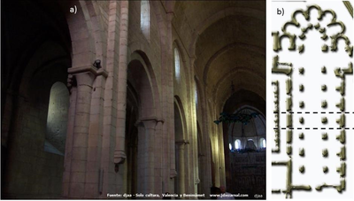 Cistercian church at the monastery of Poblet. a) Inner view of the central nave. b) Church plant and analized section.