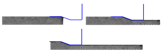 Extrusion of a steel plate at three  time instants: t = 0.9s, t = 11.9s, t = 24.9s. Inclined die wall