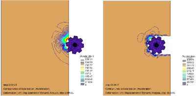 Simulation of the excavation of a soft soil mass with a rotating gear disc with the PFEM. Contour of the modulus of the acceleration vector in the soil at two instances