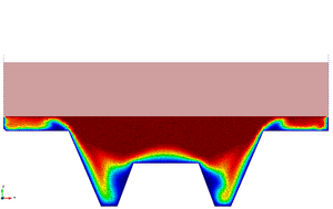 Hot forging of a metal piece. Compression phase. Snapshots of the deformation with temperature contours at different time instants.