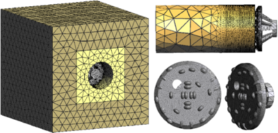 Simulation of a tunneling process with a TBM using the PFEM. Discretization of soil mass and TBM geometry with 4-noded tetrahedra