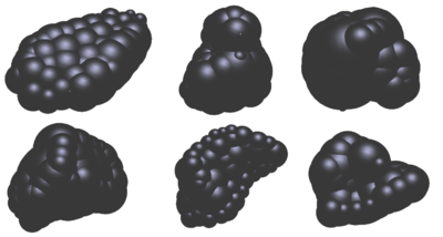 Simplification of the geometry if six different ballast particles using sphere clusters.